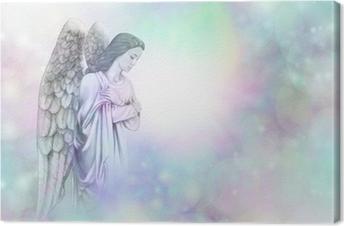 Angel on soft misty bokeh frame background Canvas Print