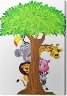 Animal hiding behind tree Canvas Print