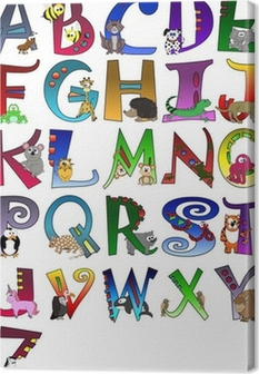 Animal Themed Alphabet Poster A - Z Poster Canvas Print