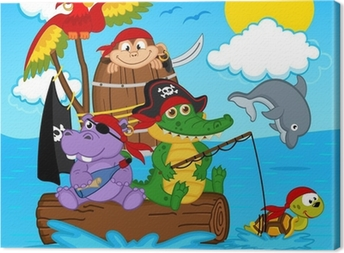 animals pirates - vector illustration, eps Canvas Print