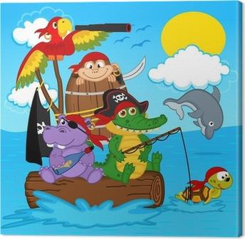 animals pirates - vector illustration, eps Canvas Print