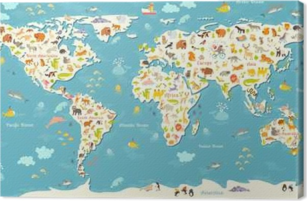 Animals world map beautiful cheerful colorful vector illustration animals world map beautiful cheerful colorful vector illustration for children and kids with the inscription of the oceans and continents gumiabroncs Images