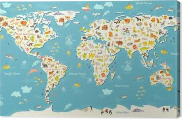 Animals world map beautiful cheerful colorful vector illustration with the inscription of the oceans and continents preschool baby continents oceans drawn earth canvas print animals world map gumiabroncs Choice Image