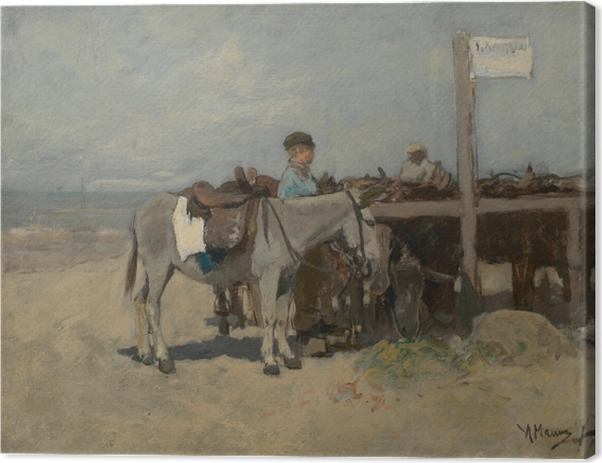 Anton Mauve - Donkey Stand on the Beach at Scheveningen Canvas Print - Reproductions