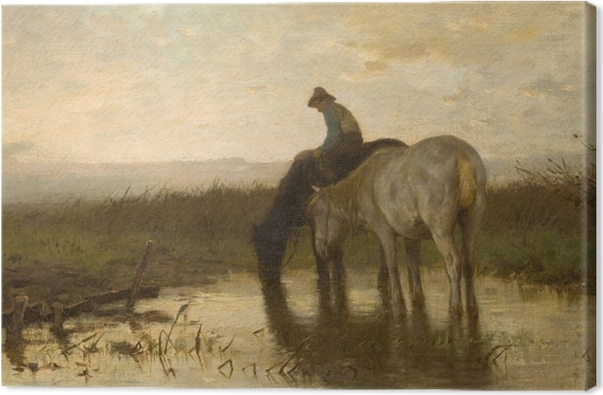 Anton Mauve - Drinking Horses Canvas Print - Reproductions