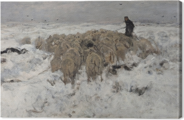 Anton Mauve - Flock of Sheep with Shepherd in the Snow Canvas Print - Reproductions