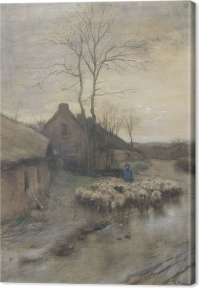 Anton Mauve - Shepherd with Sheeps in 't Gooi Canvas Print - Reproductions