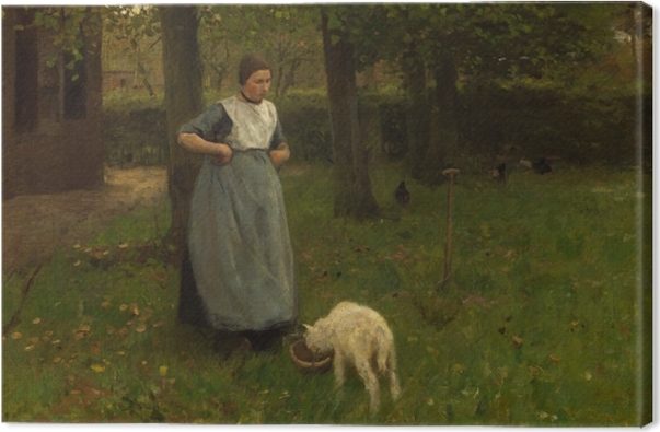 Anton Mauve - Woman from Laren with Lamb Canvas Print - Reproductions