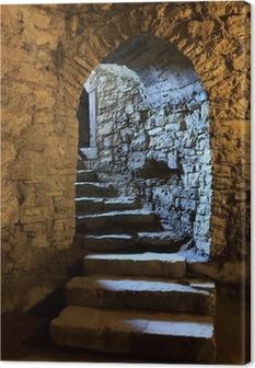 Arch in underground castle Canvas Print