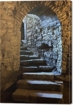 Arch in underground castle Canvas Print