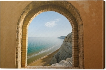 arched window on the coastal landscape of a bay Canvas Print