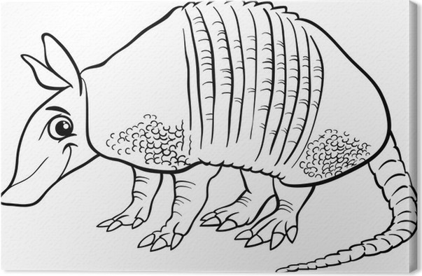 Armadillo Animal Cartoon Coloring Page Canvas Print