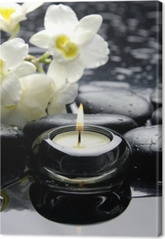 aromatherapy candle and zen stones with branch white orchid Canvas Print