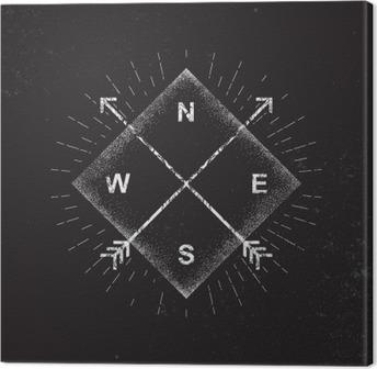 Arrows, compass, grunge design, vector illustration Canvas Print