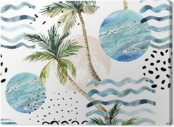 Art illustration with palm tree, doodle and marble grunge textures. Canvas Print