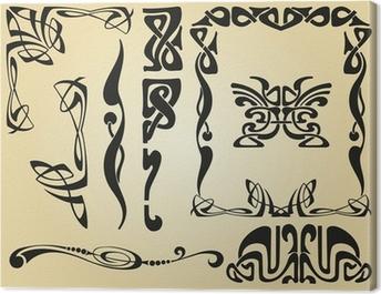 Art Nouveau design framework and elements Canvas Print