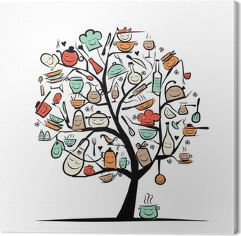 Art tree with kitchen utensils, sketch drawing for your design Canvas Print