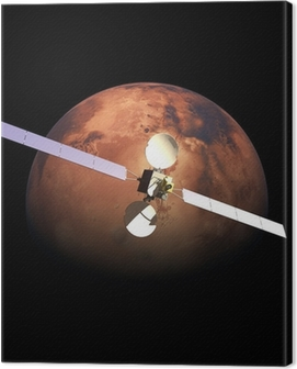 Artificial Probe orbiting above Red Planet Mars Canvas Print