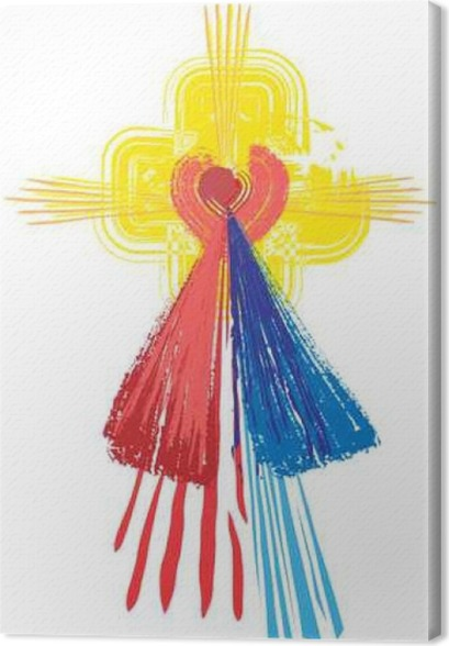 Artistic Abstract Watercolor Symbol Of Sacred Heart Of Jesus Christ