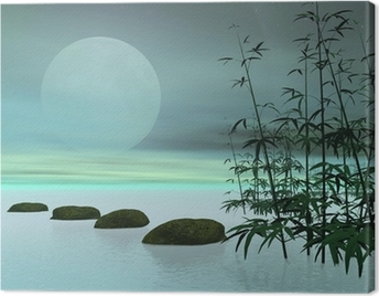 Asian steps to the moon - 3D render Canvas Print