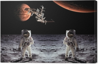 Astronauts Spaceman Moon Planets Canvas Print