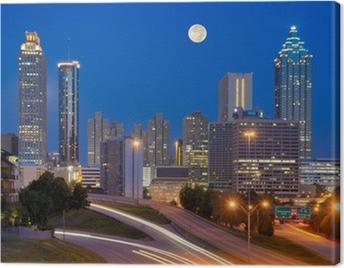 Atlanta Skyline under Full Moon Canvas Print