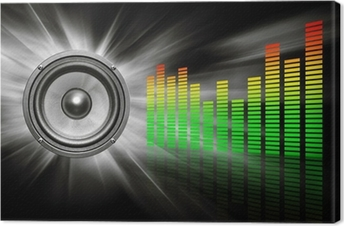 audio speaker & equalizer on black Canvas Print