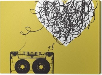 Audiocassette with tangled tape. Haert shaped Canvas Print