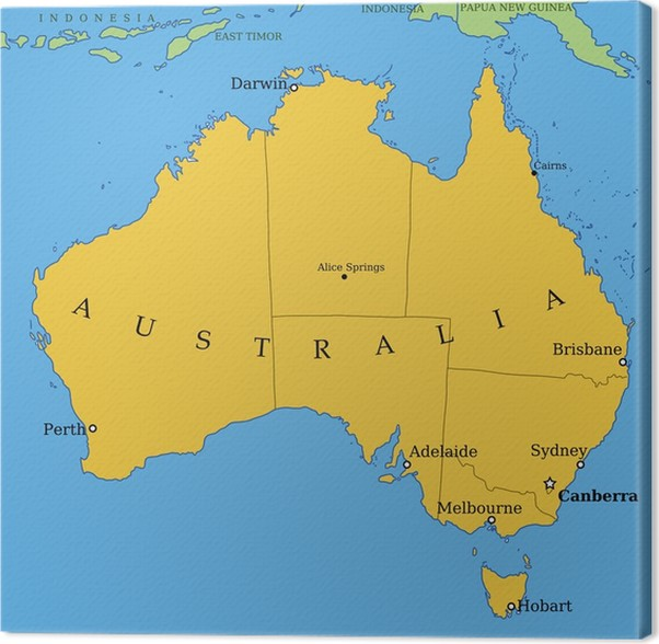 australia map with major cities and provinces canvas print