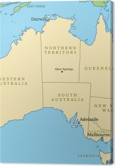 australia map with states vector illustration canvas print