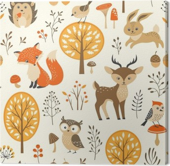 Autumn forest seamless pattern with cute animals Canvas Print