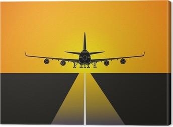Avion aterrizando en el aeropuerto Canvas Print