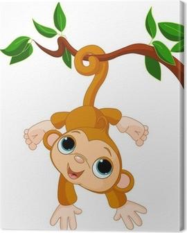 Baby monkey on a tree Canvas Print