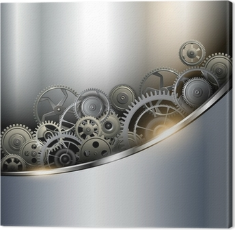 Background metallic with technology gears Canvas Print
