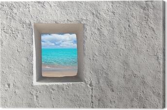 Balearic islands idyllic turquoise beach from house window Canvas Print