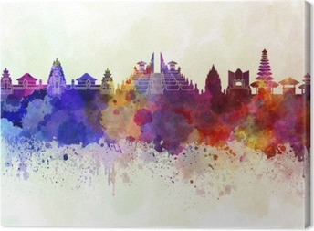 Bali skyline in watercolor background Canvas Print