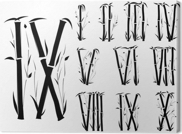 Bamboo AlphabetRoman Numerals Font In Asian StylePart 3 Canvas Print