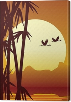bamboo and sunset Canvas Print