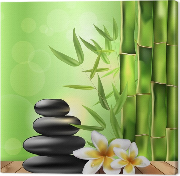 bamboo frangipani flowers and stones spa background canvas print