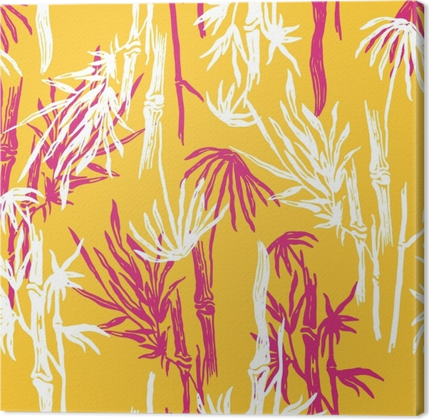 Bamboo seamless tropical leaves pattern on exotic trendy background ...