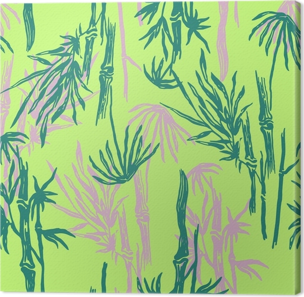 Bamboo Seamless Tropical Pattern On Exotic Lime Green Background Asian Plant Wallpaper Chinese Or Japanese Nature Textile Print Canvas
