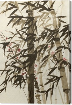 bamboo trees and plums branch Canvas Print