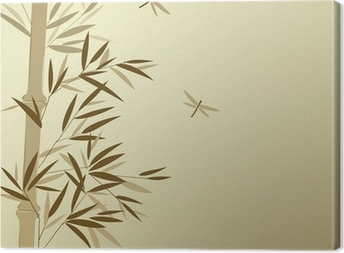 Bamboo with dragonflies in Chinese painting style Canvas Print