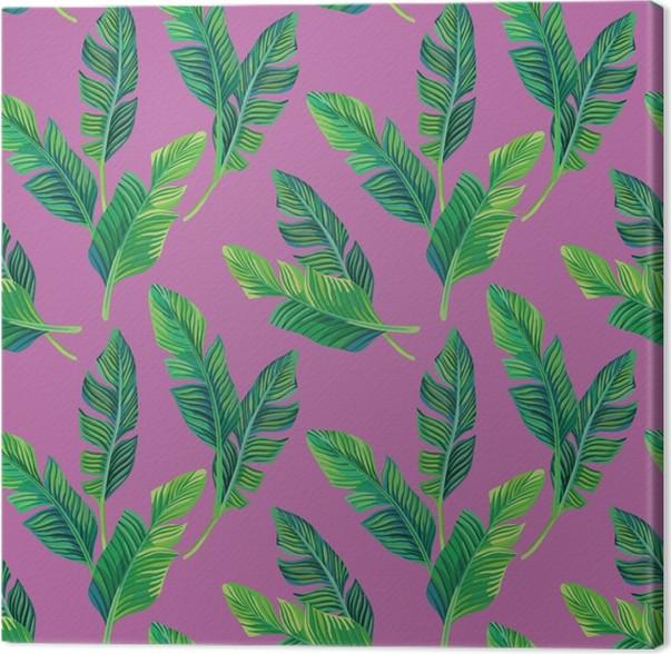 banana leaves seamless background Canvas Print - Pineapple Fever