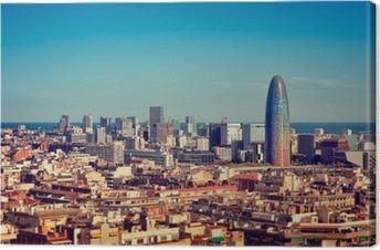 Barcelona`s skyline with skyscrapers. Canvas Print