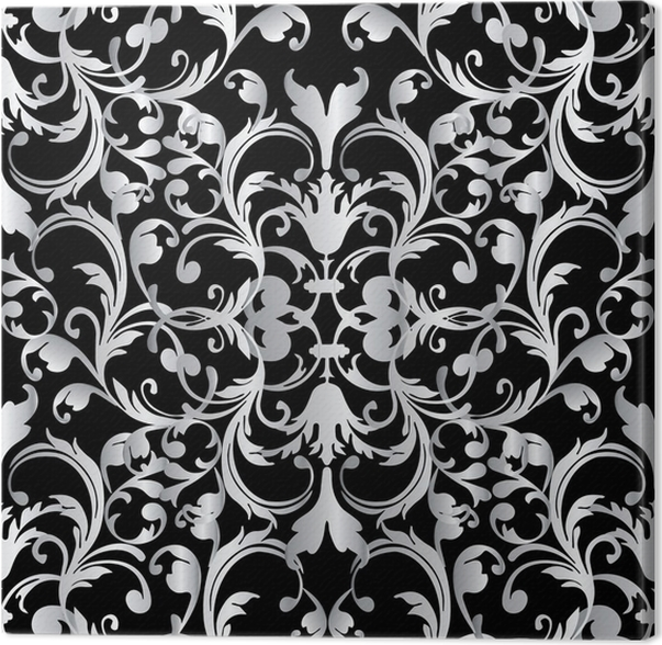 Baroque Seamless Pattern Floral Damask Black Background Wallpaper Illustration With Vintage White 3d Flowers Scroll Leaves And Antique Ornaments