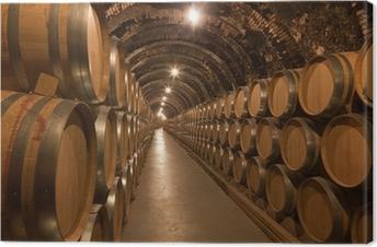 Barriles de vino en la bodega Canvas Print