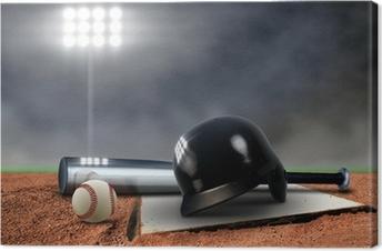 Baseball Equipment under spotlight Canvas Print