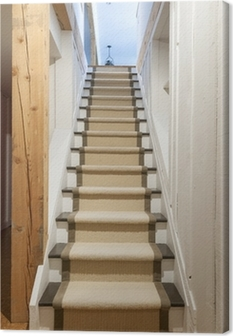 Basement stairs in house Canvas Print