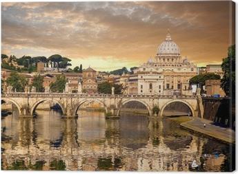 Basilica di San Pietro with bridge in Vatican, Rome, Italy Canvas Print